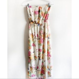 Forever 21 maxi dress floral birds strapless lined